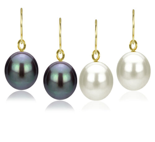 18K Solid Gold Black or White Baroque Pearl with French Hook Earrings Jewelry