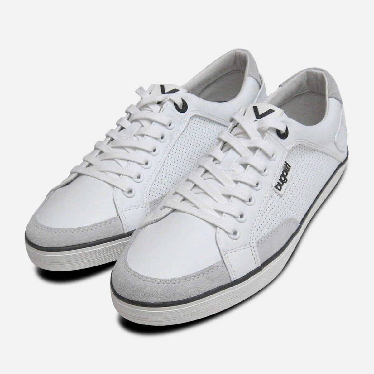 Mens White Leather Designer Trainers by Bugatti Sneakers