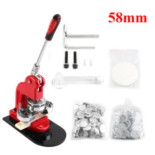 25//32//58MM Button Maker Machine Badge Punch Press+1000 Parts Circle Cutter Kit
