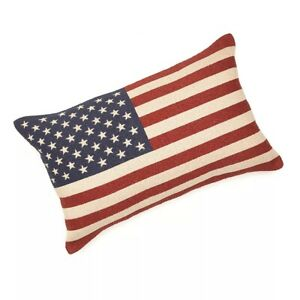 Brentwood-American-USA-Flag-Tapestry-Decorative-Throw-Pillow-18-034-x-12-034-NEW