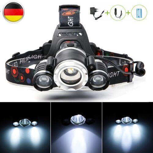 Ladegerät Profi LED Stirnlampe Kopflampe 20000LM 3x XM-L T6 Inkl.2 X 18650 Akku