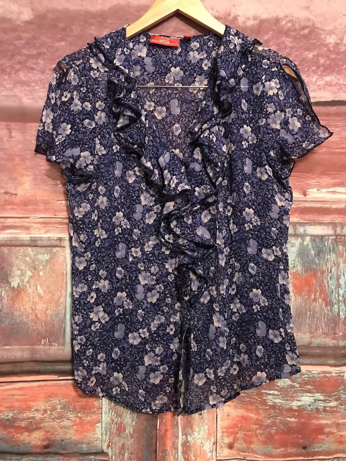 Oscar de la Renta schwarz Blau Weiß Silk Floral Button Down Ruffled Blouse 14 Cl7