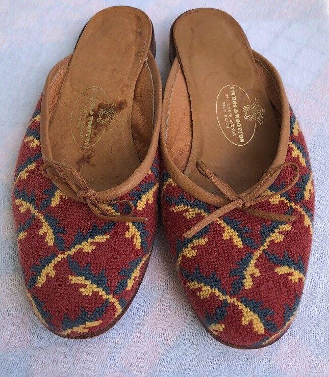 STUBBS & WOOTTON WORTH AVENUE WOMEN'S ONS Schuhe BACKLESS FLATS SLIP- ONS WOMEN'S US SIZE 6M 91b536