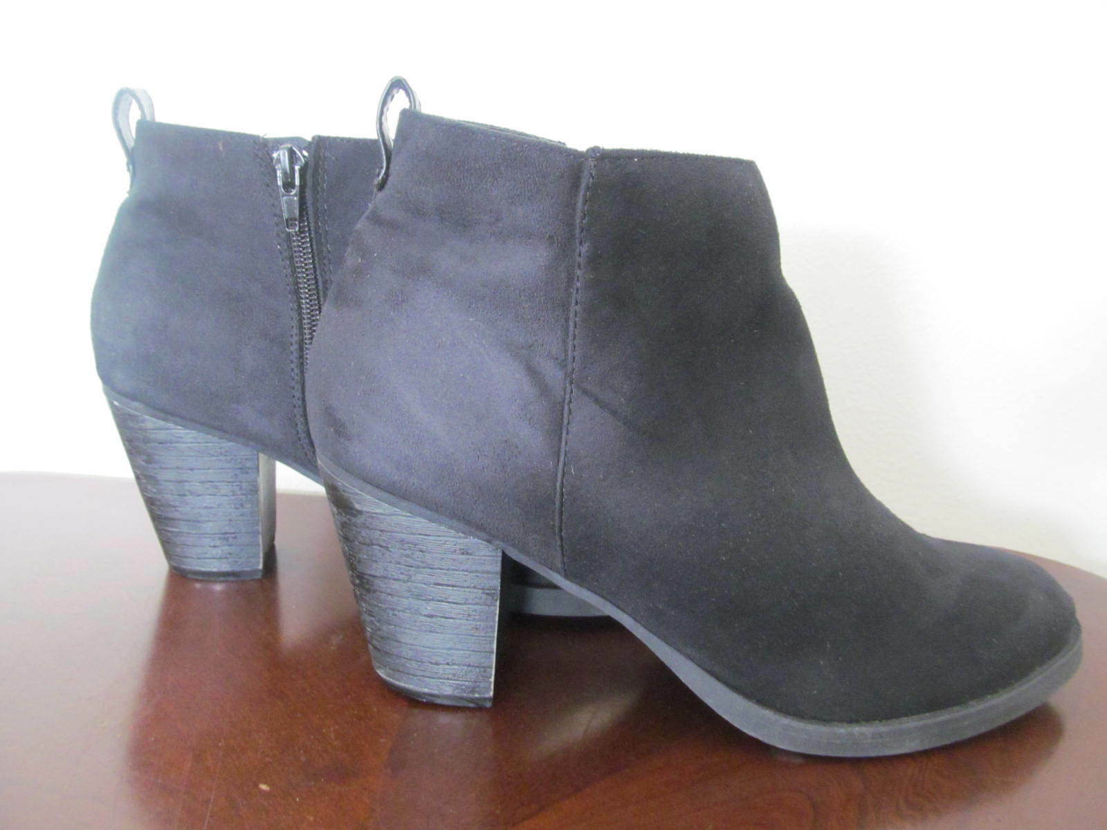 Women's Ankle Boots US Size 9 Charlotte Russe Black Heel 31/2 Suede Look