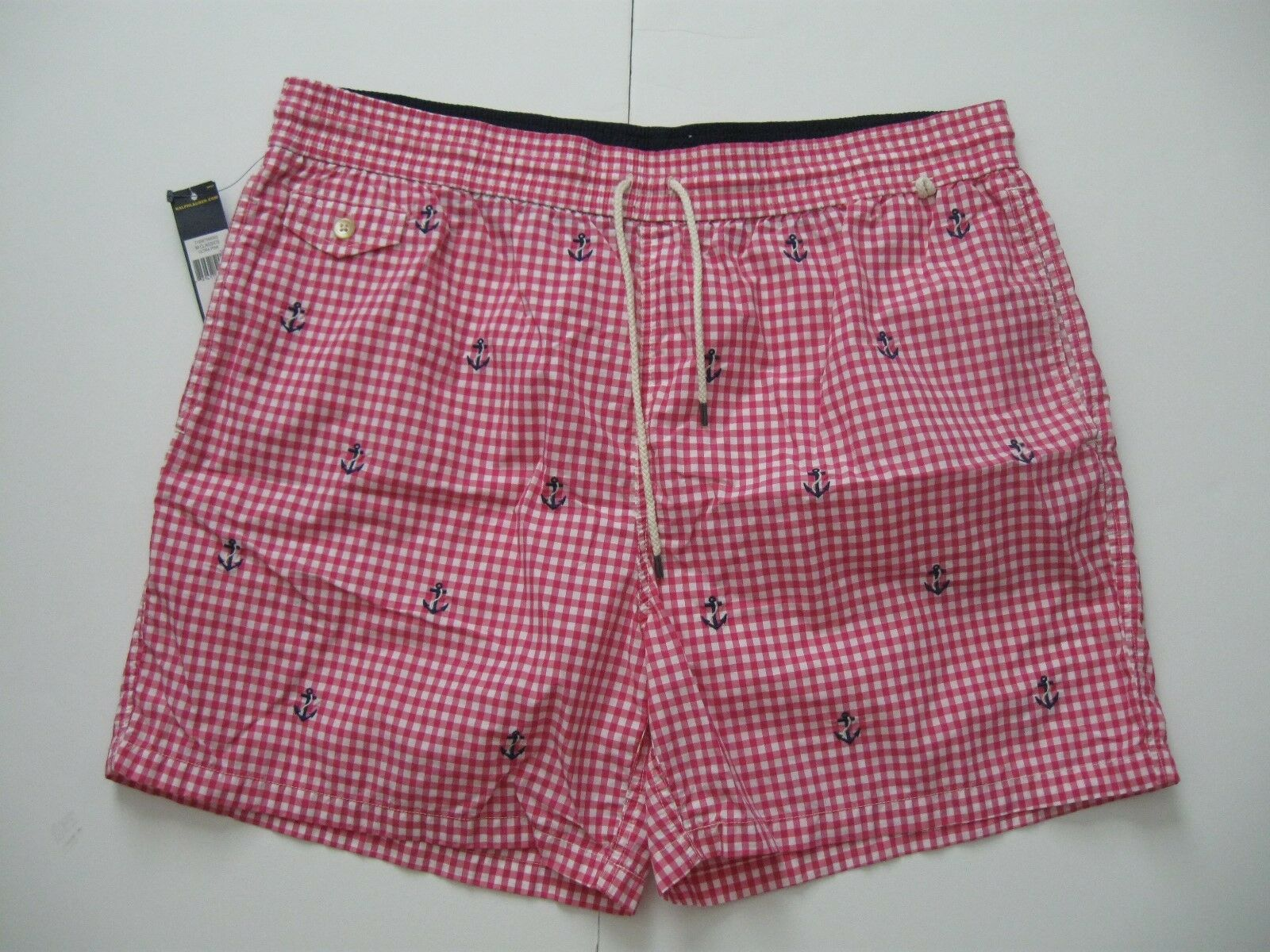 POLO RALPH LAUREN Men's Gingham Anchor Embroidered Traveler Swim Shorts XXL