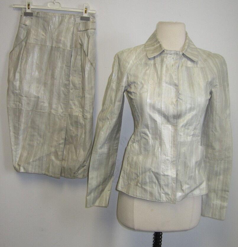 NWT OSCAR DE LA RENTA 100% leather light green skirt suit SZ 2
