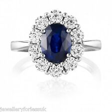 18Carat White Gold Natural Blue Sapphire & Diamond Oval Cluster Ring 1.55 carats
