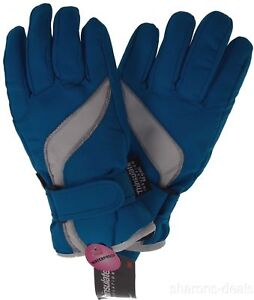 222095681 Joe Boxer Girls Ski Gloves Blue Warm 3M Thinsulate 40g Waterproof ...