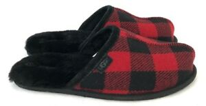 Ugg Mens Scuff Plaid Wool Slippers Red