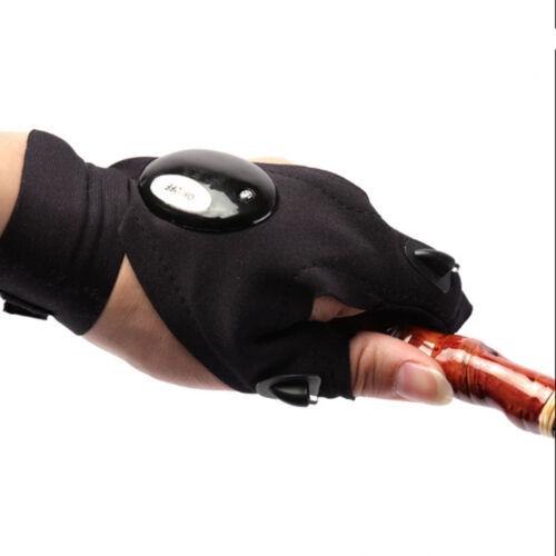 LED LIGHT Glove Outdoor Flashlight Night Half-finger Fishing Hiking Repair Glove