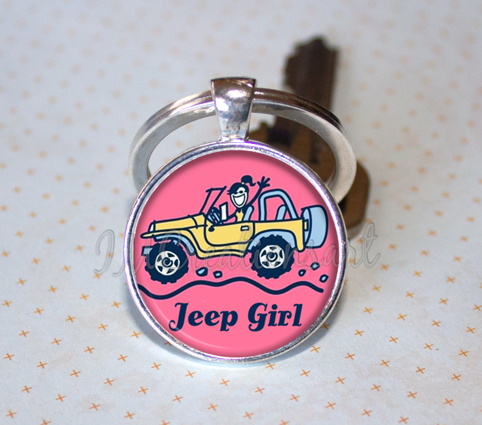 CHENVA Jeep Keychain Jeep Girl Gift Stainless Steel Dog Tag Keyring Jeep Wrangler Accessories Gift for Jeep Lover
