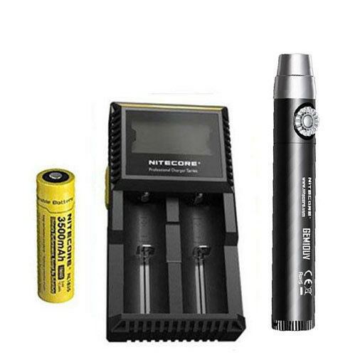 Nitecore GEM10UV GEM IDENTIFICATION Flashlight w NL1835 Battery + D2 Charger