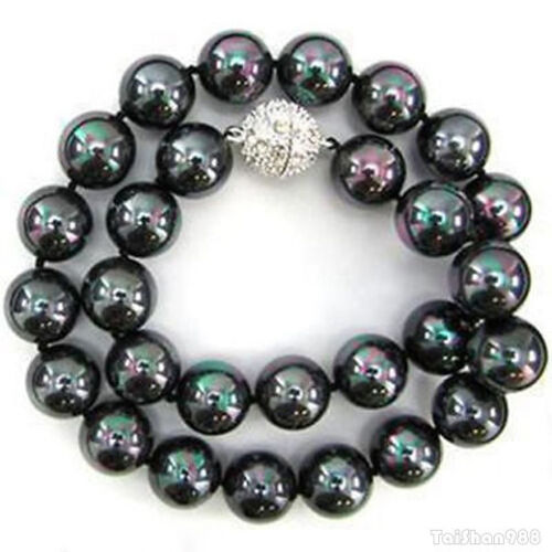 12 mm Black South Sea Shell Pearl 18KWGP Crystal Clasp Necklace