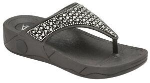 eccf4e07811 Ladies Dunlop Low Wedge Fit Flip Flop Toe Post Crystal Sandals ...