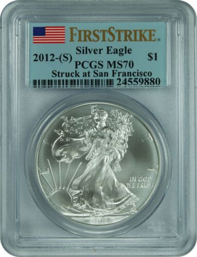 PCGS MS70 Silver Eagle FiIRST STRIKE Struck at San Francisco 2012- S
