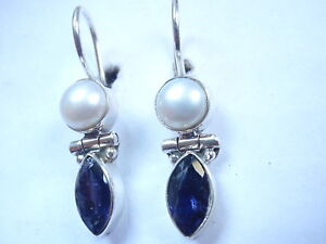 Faceted-Iolite-and-Cultured-Pearl-925-Sterling-Silver-Wire-Back-Earrings