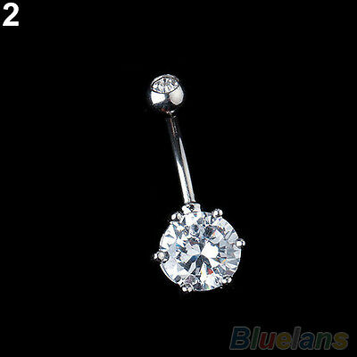 Fashion Surgical Steel Crystal Navel Belly Ring Button Bar Body Piercing Jewelry