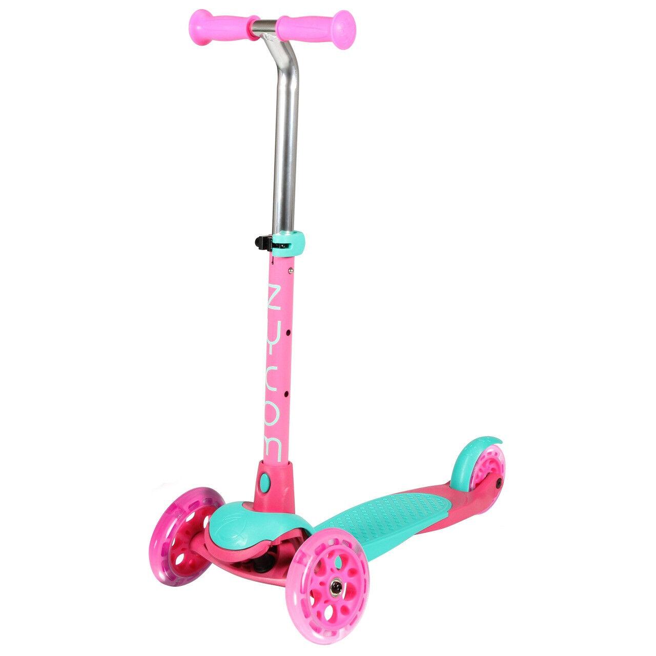 Zycom Zing Kids 3 Wheel Adjustable Scooter W  Light Up Wheels - Teal Pink