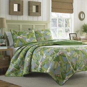 Queen Quilt Set Bedding Tommy Bahama Blue Green Tropical