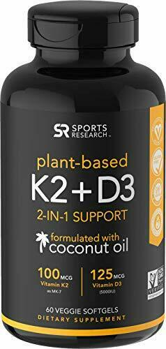 Vitamin K2 + D3 with Organic Coconut Oil Support for Your Heart,Bones & Teeth