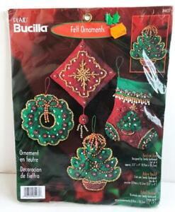 2001-Bucilla-Festive-Tree-Felt-Holiday-Ornaments-Kit-Set-of-4-Christmas-84433