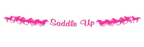 4x4 SUV trailer PINK Windshield Decal SADDLE UP running horse for truck