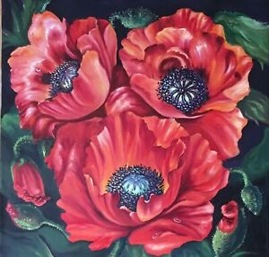 Original-oil-painting-on-canvas-flowers-Poppies-ready-to-hang-Gift-wall-decor