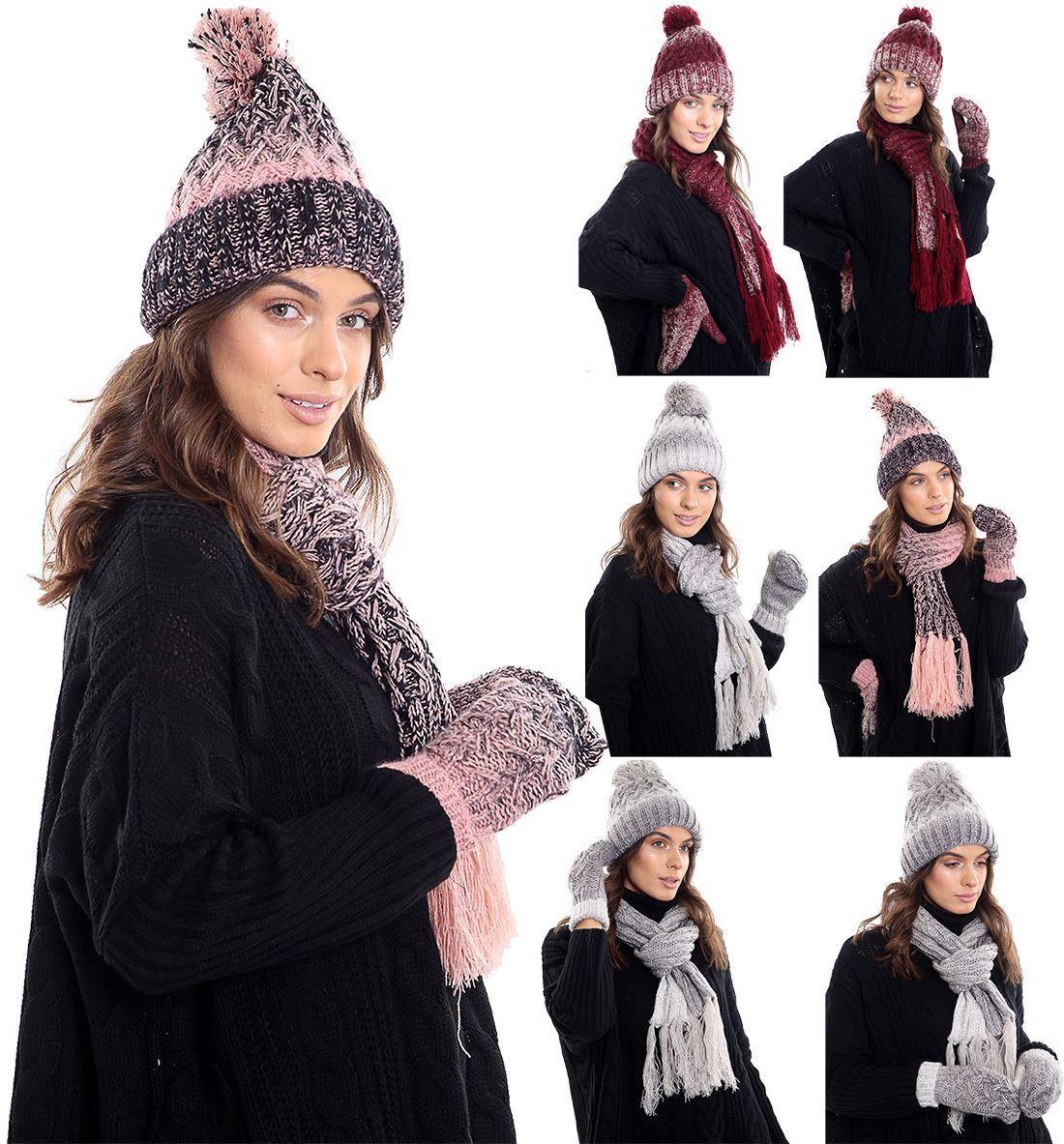 Ladies Fleece Lined Warm Scarf Hat And Mittens Set Women Winter Wear Accessories