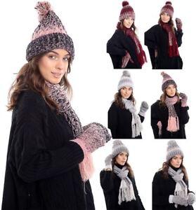 9a82043912f Ladies Fleece Lined Warm Scarf Hat And Mittens Set Women Winter Wear ...