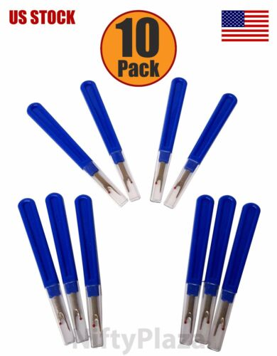 10 Pack Seam Ripper Sharp STEEL TIP 5 ¼ Inch PREMIUM QUALITY with Safety Lid