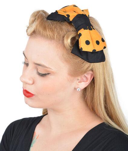 Schwarz Gelb Rockab Cute Retro POLKA DOTS 50s Schleife Punkte BOW Haarspange