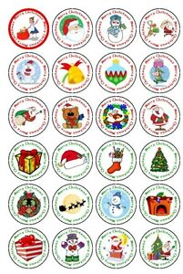 30-PRE-CUT-EDIBLE-WAFER-CUP-CAKE-TOPPERS-MERRY-CHRISTMAS-SANTA-SNOWMAN-XMAS-GIFT