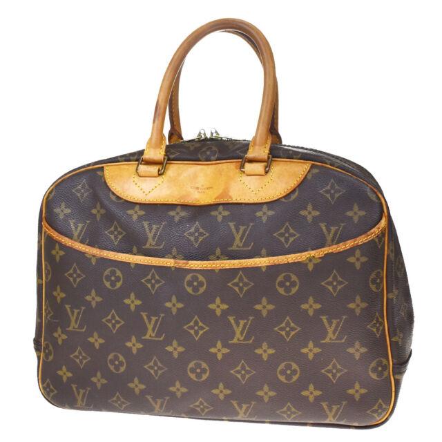 Authentic LOUIS VUITTON Deauville Hand Bag Monogram Leather Brown M47270 30BQ519