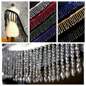 1M-Acrylic-Crystal-Beaded-Tassel-Fringe-Lace-Trim-Costume-Curtain-Upholstery-Sew
