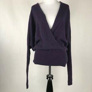 VINCE WOmen Purple Cashmere Faux Wrap Dolman Sleeve Sweater sz XS *read