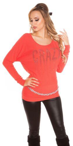 KouCla Fledermaus Pullover Longpullover Sweater mit Strass