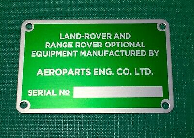 NEW Land Rover Series FAIREY 4000lb CAPSTAN WINCH Serial Number Plate Red