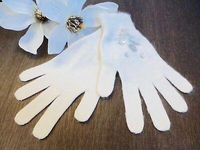 FleißIg Lili Gaufrette ❤️ Angora Handschuhe Gants Creme Weiß T3 6-8 116 122 128 134 Neuw Um Jeden Preis