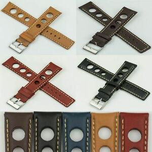 Mens-Rally-Racing-Sports-Genuine-Calf-Leather-stitched-Watch-Strap-Band-Buckle