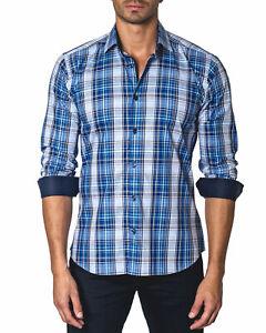Jared-Lang-Trim-Fit-Plaid-Button-Down-Shirt-Medium-Blue-W-Contrast-Cuffs