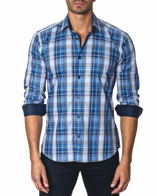 Jared Lang Trim Fit Plaid Button Down Shirt Medium Blue W/ Contrast Cuffs