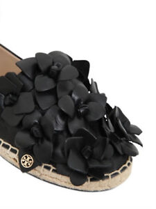 580933416d2600 Image is loading NEW-Tory-Burch-Blossom-Espadrille-Black-Leather-Flowers-
