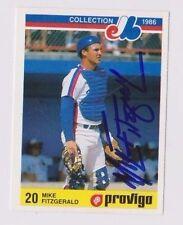 1986 Provigo Mike Fitzgerald Montreal Expos Autographed Baseball Card