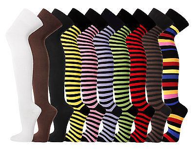 Overknees Strümpfe Uni Farben am Bund Geringelt Überknie Strümpfe Overknee Socks