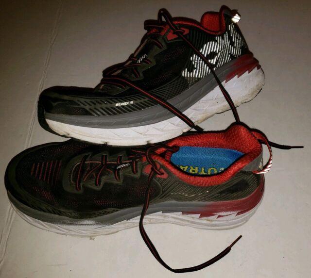 Hoka One One Bondi 5 Neutral Running Shoes Gray Red Men's 8.5 Womens 10 2E WIDE