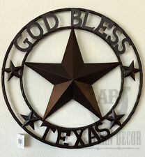 """Lone Star GOD BLESS TEXAS 24"""" Metal Sign In Circle Wall Hanging Western Country"""