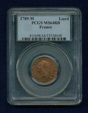FRANCE LOUIS XVI  1789-M 1 LIARD COIN CHOICE UNCIRCULATED CERTIFIED PCGS MS64-RB