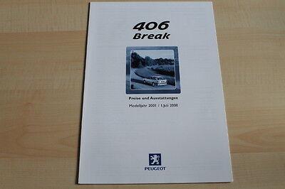 86119) Peugeot 406 Break - Preise & Tech Daten & Ausstattungen - Prospekt 07/200 Einfach Zu Schmieren