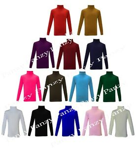 GIRLS-BOYS-KIDS-POLO-NECK-TOP-ROLL-NECK-LONG-SLEEVED-TOPS-2-13-YEARS