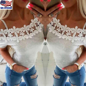 Women-Off-Shoulder-Lace-Short-Sleeve-T-Shirt-Blouse-Summer-Casual-Tops-Blouse-US